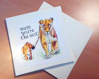 Lions | Mother's Day Card | Handmade Card | Big Cats