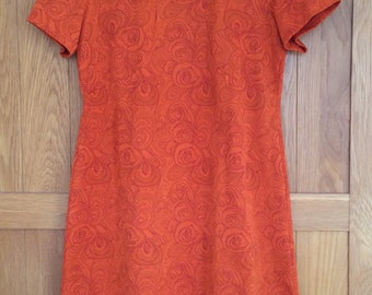 Vintage Orange Floral Design Dress 1960s
