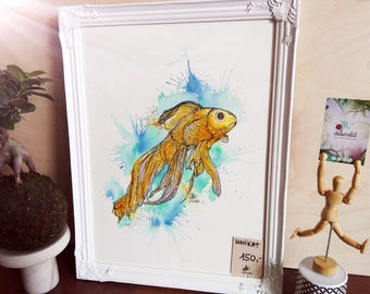 Golden fish, one of a kind, painted & framed art