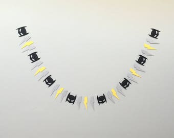 Black and Grey Superhero Garland-Nursery-Baby Shower-Birthday Party
