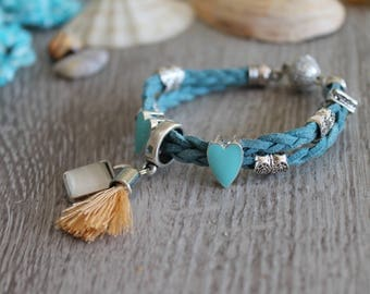 Bracelet braided double row, various metal beads, tassel, trailers, magnetic lock, gift, handmade UliAjewelry