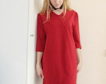 Dress is red/casual dress/mydress/beadwork/handmadebeadwork