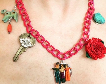 Colorful funky charm necklace
