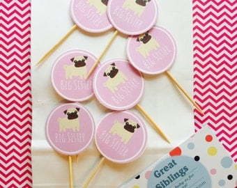 Big Sister Party Puppy Cupcake Toppers