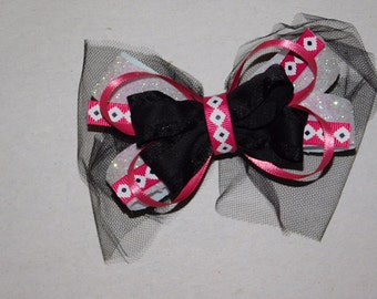 Pink and black aztec hair bow