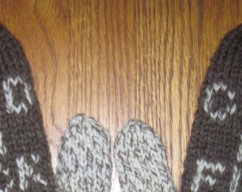 Cold as F**k Mittens Hand Knit Brown Fisherman Wool Free US Shipping