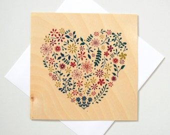 Greeting Card - TIMBER/ Floral Heart - Multi