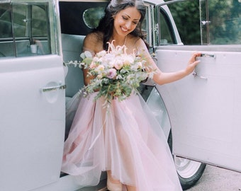 Elegant Beige Gray Purple Wedding Dress Tulle Gown Prom Lace With Soft Pink Dresses