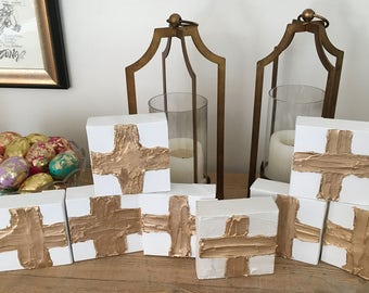 Acrylic Gold Paintings, Mini Canvas, Gold Cross, Gold Crown, Easter, Christmas