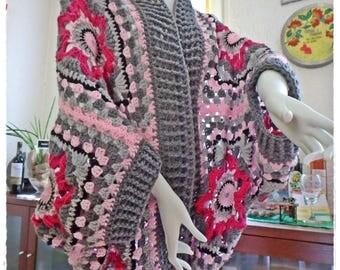 Homemade crochet Granny square cocoon sweater Cardigan unique