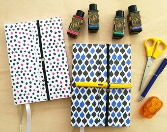 Colorful wraparound softcover A5 journal notebook with pen holder