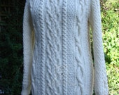 Cable Aran Jumper  Aran Sweater Cream Aran Sweater Ladies Handknit Aran  Womens Cream Aran Sweater Cream Jumper Hand knit Aran Sweater