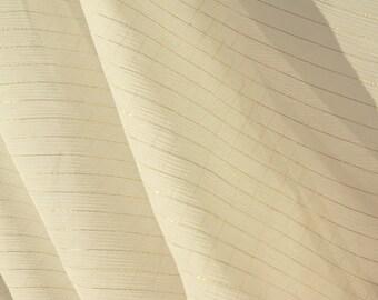 Cream Gold Lines Sheer Fabric