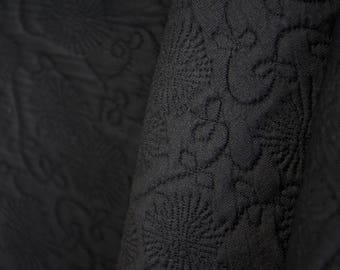 Black Stretch Embossed Fabric