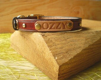 Dog Collar, Leather Dog Collar, Custom Leather Dog Collar, Personalized Leather Dog Collar, Engraved Collar, Natural Leather