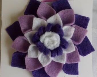 "Purple Felt Flower Hair Accessory - Large (4"" diameter)"