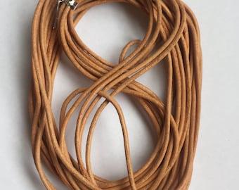 2mm Genuine Leather Tan Cord - 10m