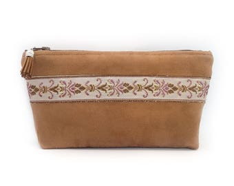 Makeup pouch in camel suede and Ribbon with golden threads. Makeup bag.