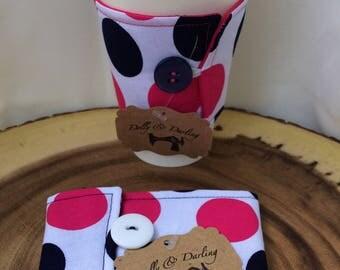 handmade reusable coffee sleeve (Navy/Pink)