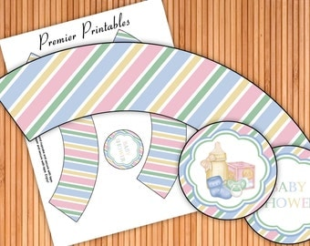 All Things Baby - Baby Shower Printable Cupcake Wrappers and Toppers - Instant Download