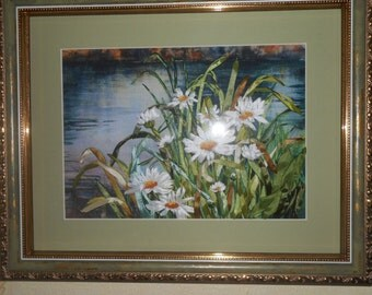"""Embroidery ribbons """"Daisy by the river""""."""