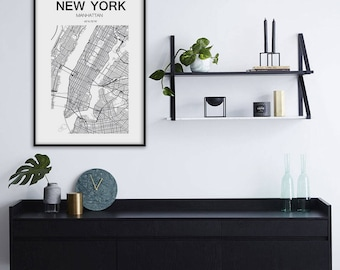 New York Map Print, New York Map, United States City, Valeridesinstudio, Manhattan Map, NYC Map Print, Manhattan Print Map, NY Print, NY Map