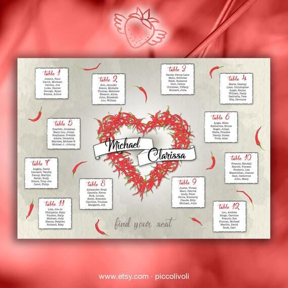 Bien connu Tableau Mariage Cuore Rosso Peperoncini E Tableau de mariage UE72