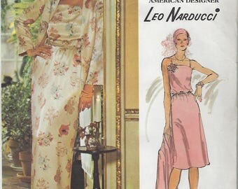 1970s Leo Narducci Vogue American Designer Original Dress 1203 Sewing Pattern Bust 36