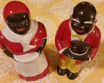 Vintage Black Americana His and Hers Salt and Pepper Shaker Set