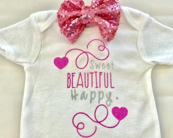 Sweet Beautiful Happy Baby Onesie, Baby Onesie, Baby Clothes, Baby Shower Gift