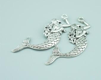 10pcs 21x75mm Alloy Mermaid Charm Pendants JH3913