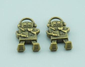30pcs 10x17mm Antique Bronze Robot Charm Pendants Z5814
