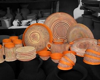 Traditional Uzbek dishware handmade pottery glazed ceramic set new 217