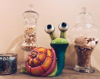 Ceramic Snail, Beach Decor, Yard Art, Home Decor