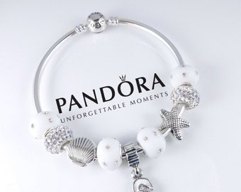 Authentic Pandora Beach Bangle Bracelet with White Sterling Silver Charms