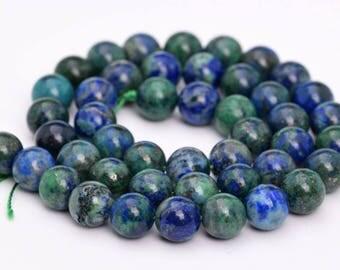 """8MM Azurite Natural Gemstone Full Strand Round Loose Beads 15"""" (101114-321)"""
