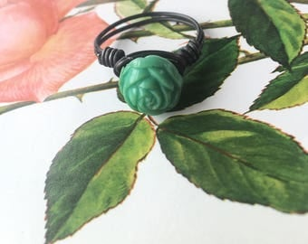 ring wire wrapping with turquoise rose