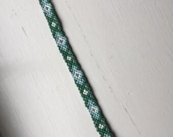 Sky blue and green diamond friendship bracelet