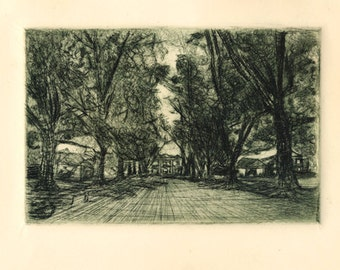 Historical Lowndes Hill Drypoint Print