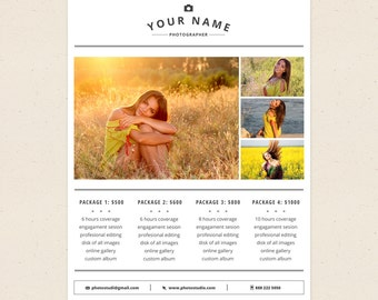 Price List Template - Photoshop Templates for Photographers - P04