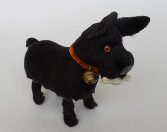 Windup Dog Toy, Small Black Scottish Terrier With His Key, He Carries a Dog Bone and Wears a Bell, Japan, Vintage