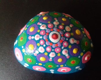 Funky Jewel  Drop Mandala Stone, hand painted pebble, painted rock from Cornwall,  paperweight, mindfulness or meditation aid, Cornish gift.