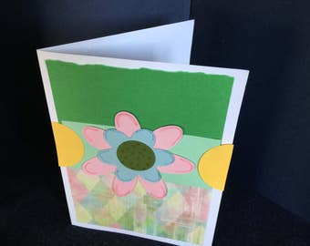 Pink an blue flower friend greeting card