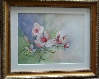 "Framed original watercolor Magnolia flowers,  14"" x 17"""