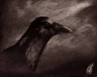 Dark Charcoal Raven Drawing
