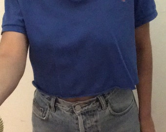 90s Vintage Ralph Lauren Blue Cropped Polo shirt