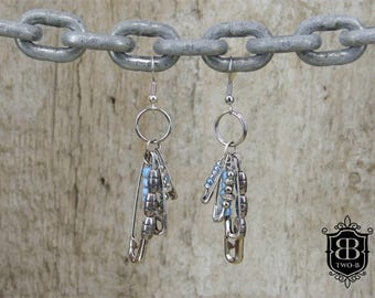 Earrings jewelry blue safety pins Upcycling