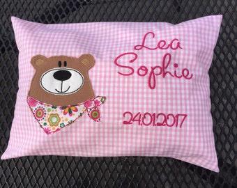 Birth pillow bear Bärbel VichyKaro 20 x 30 cm