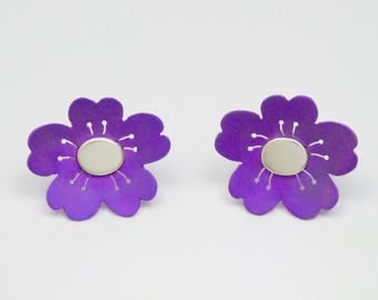 Pair of anodized titanium and silver 925 cherry blossom earrings, ear studs. Anodized titanium and silver jewelry.