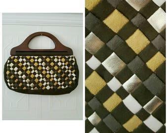 Vintage 1970's, handbag, wooden handles, green, yellow, brown